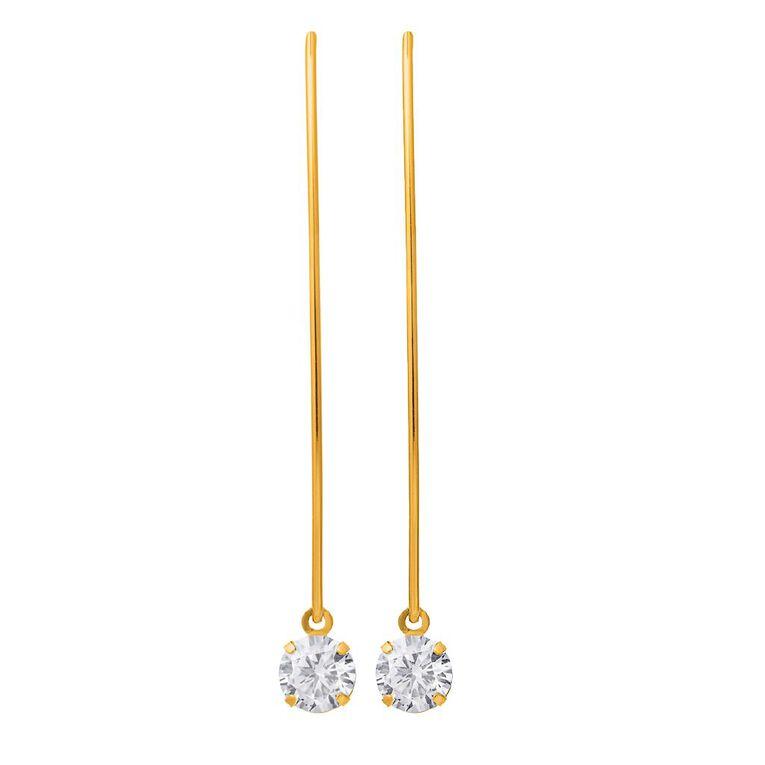 9ct Gold CZ Hook Drop Earrings, , hi-res