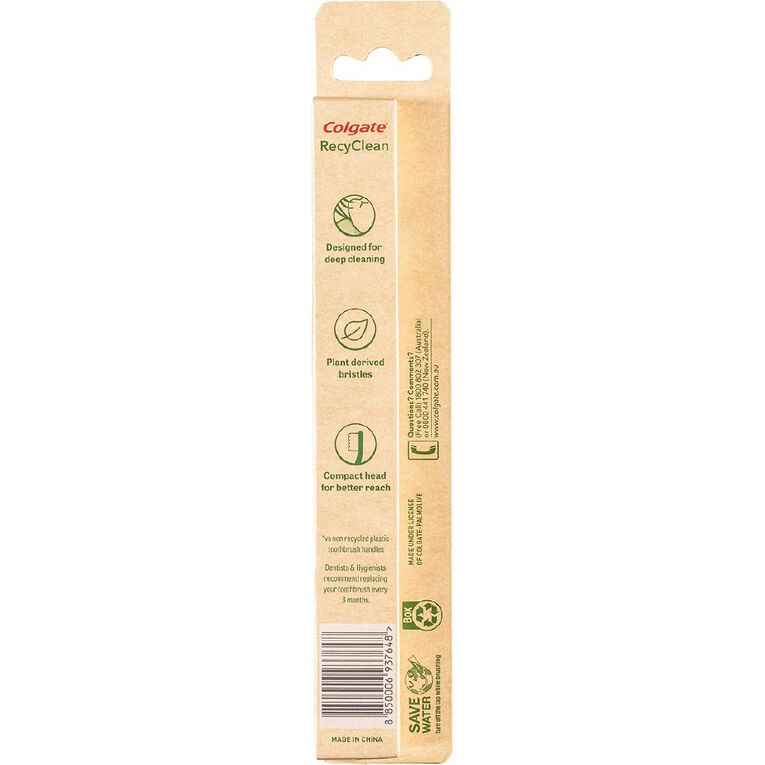 Colgate RecyClean Toothbrush Medium 100% Recycled Plastic Handle, , hi-res image number null