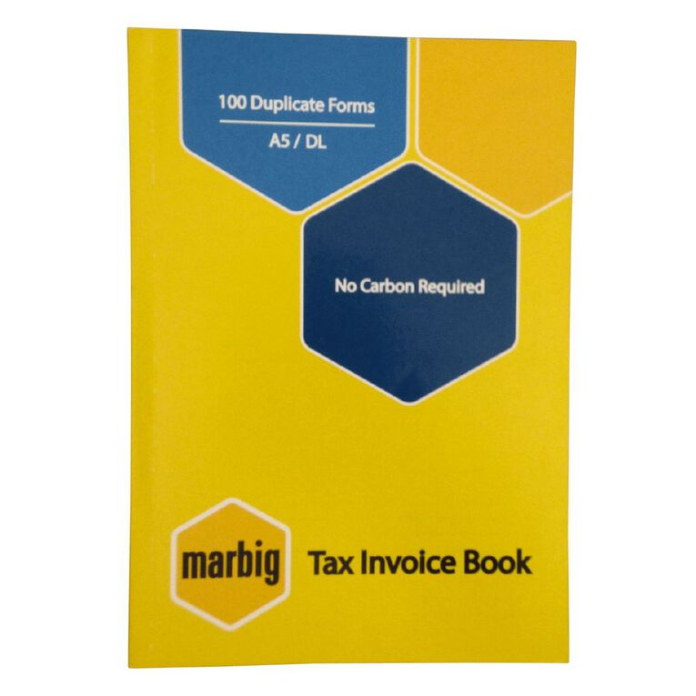 Marbig Invoice Book Duplicate 100 Leaf Yellow A5, , hi-res