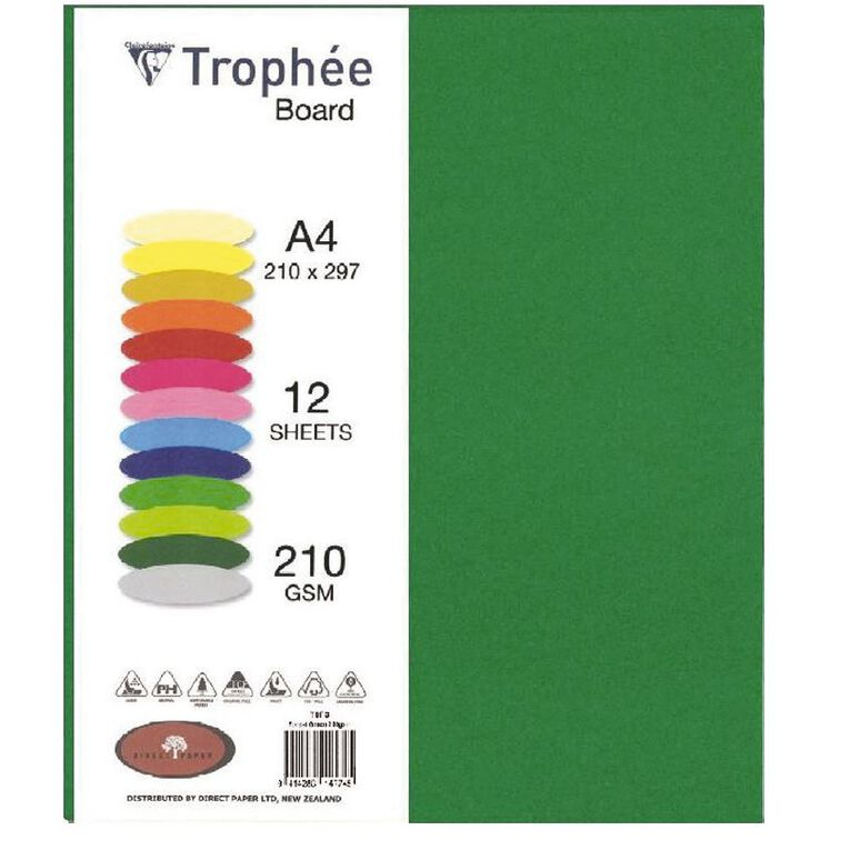 Trophee Board 210gsm 12 Pack Forest Green A4, , hi-res
