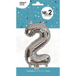Foil Balloon #2 Silver 35cm