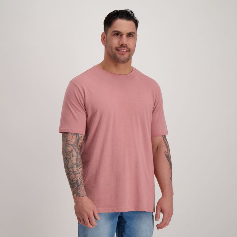 H&H Men's Crew Neck Short Sleeve Plain Tee, Pink LTMAHOGANY, hi-res