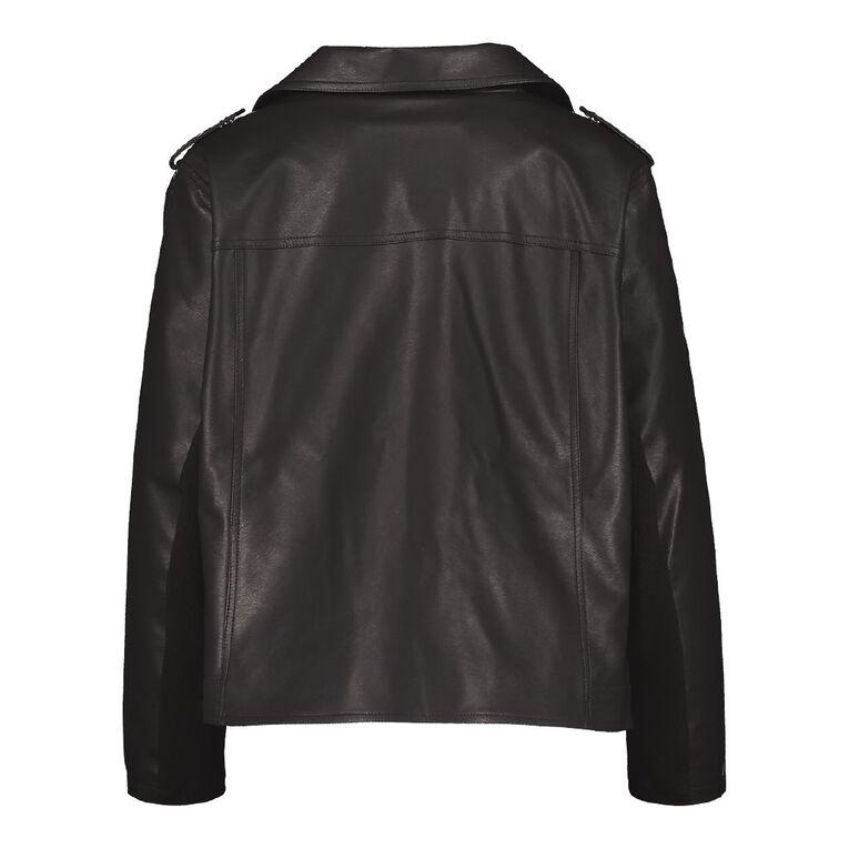 H&H Plus Women's PU Biker Jacket, Black, hi-res