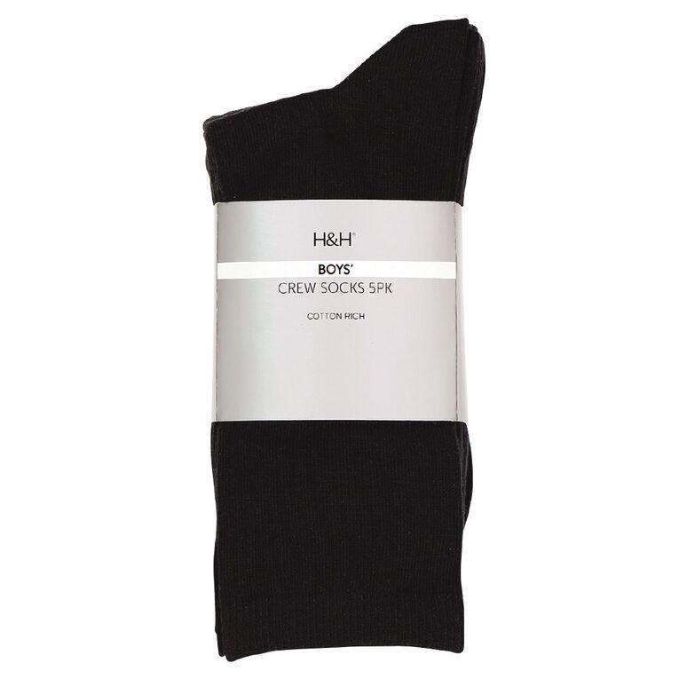 H&H Essential Plain Crew Socks 5 Pack, Black, hi-res image number null
