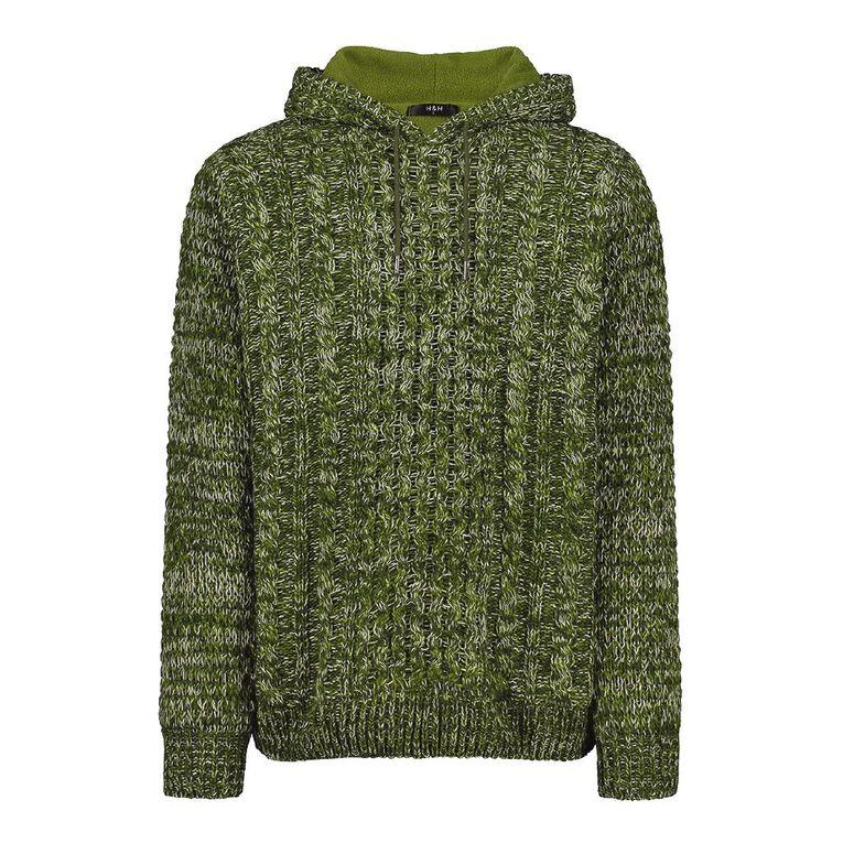 H&H Men's Pullover Hood Lined Jumper, Khaki, hi-res