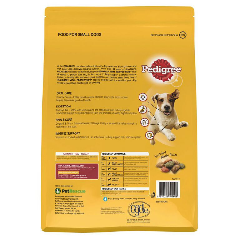 Pedigree Small Breed Adult Dry Dog Food With Real Beef 2.5kg Bag, , hi-res