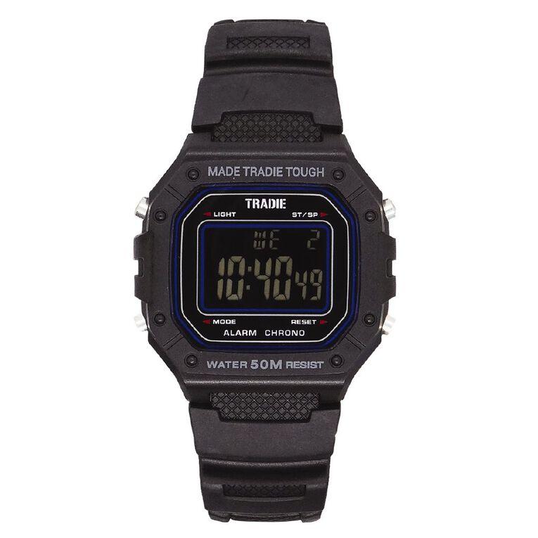 Tradie Digital Black 5ATM Water Resist Alarm Stopwatch Backlight, , hi-res