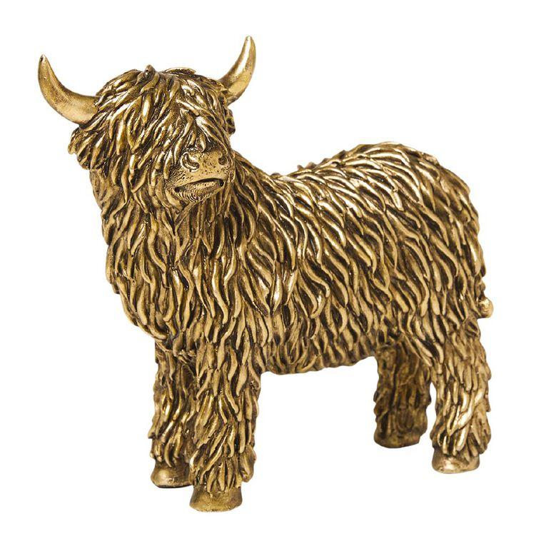 Living & Co Polyresin Highland Cow Gold, , hi-res