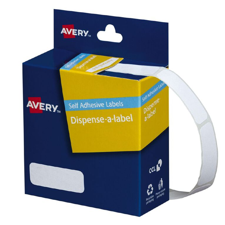 Avery White Rectangle Dispenser Stickers 36x13mm 700 Labels Handwritable, , hi-res
