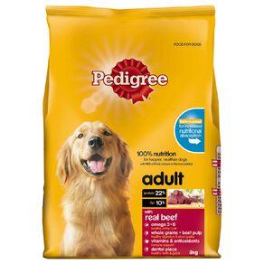 Pedigree Adult Dry Dog Food With Real Beef 3kg Bag