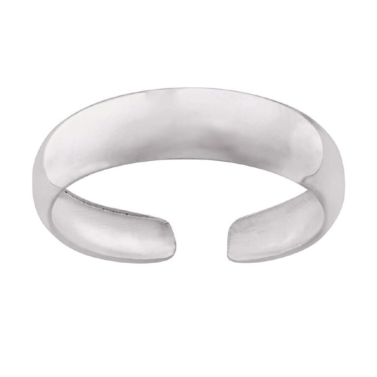 Sterling Silver Plain Toe Ring, Sterling Silver, hi-res image number null