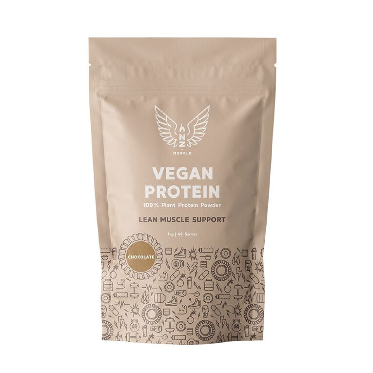 NZ Muscle Vegan Protein Chocolate 1Kg, , hi-res