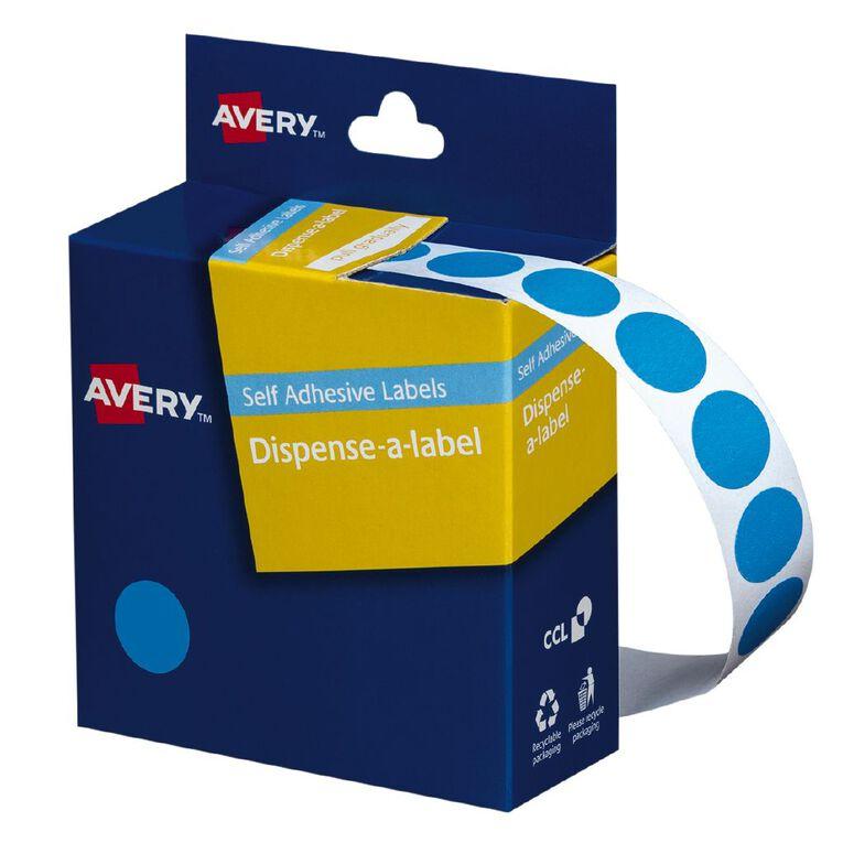Avery Light Circle Blue Dispenser Labels 14mm diameter 1050 Labels, , hi-res