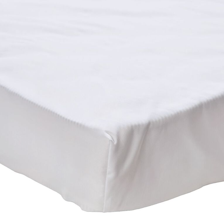 Living & Co Sheet Fitted Microfibre White Queen, White, hi-res
