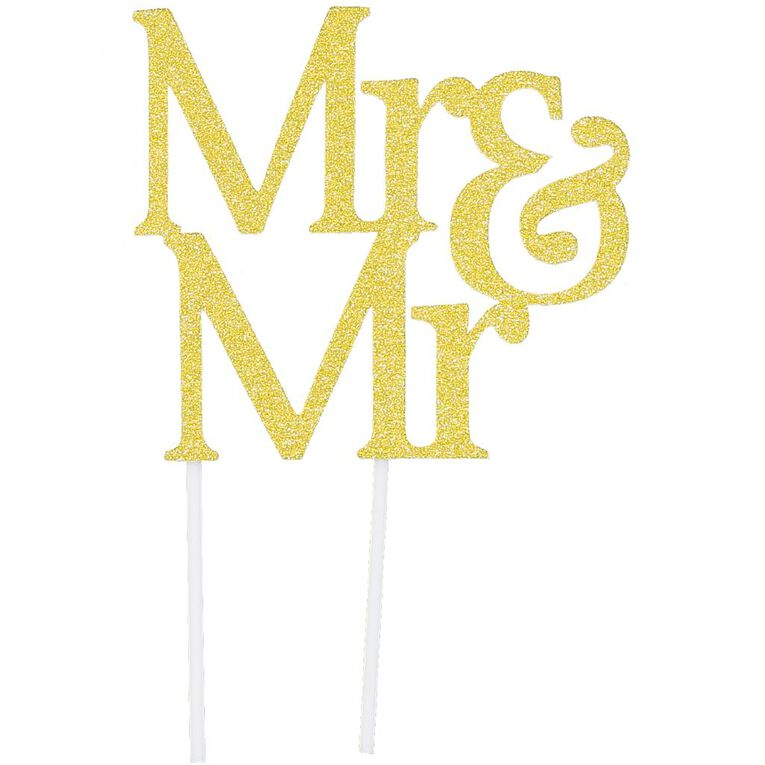 Artwrap Cake Topper Mr & Mr Gold Glitter, , hi-res