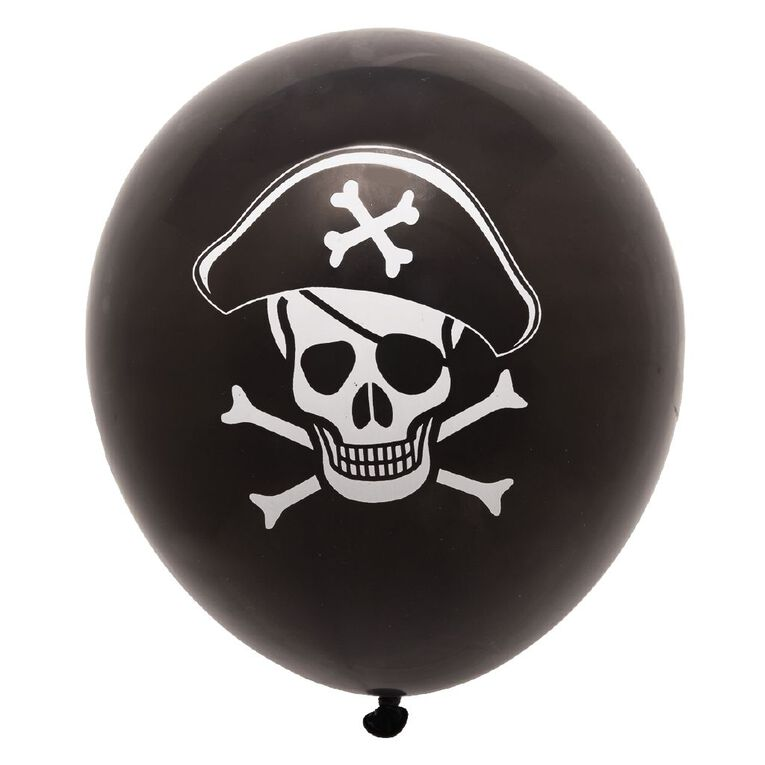 Party Inc Balloons Printed Pirate 25cm 12 Pack, , hi-res