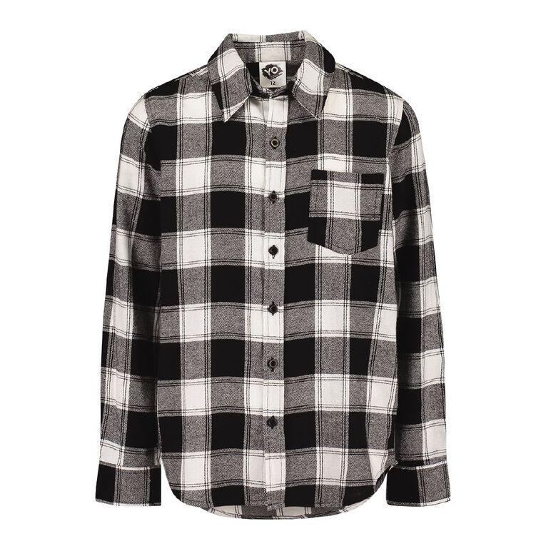 Young Original Long Sleeve Flannel Shirt, Black/White, hi-res