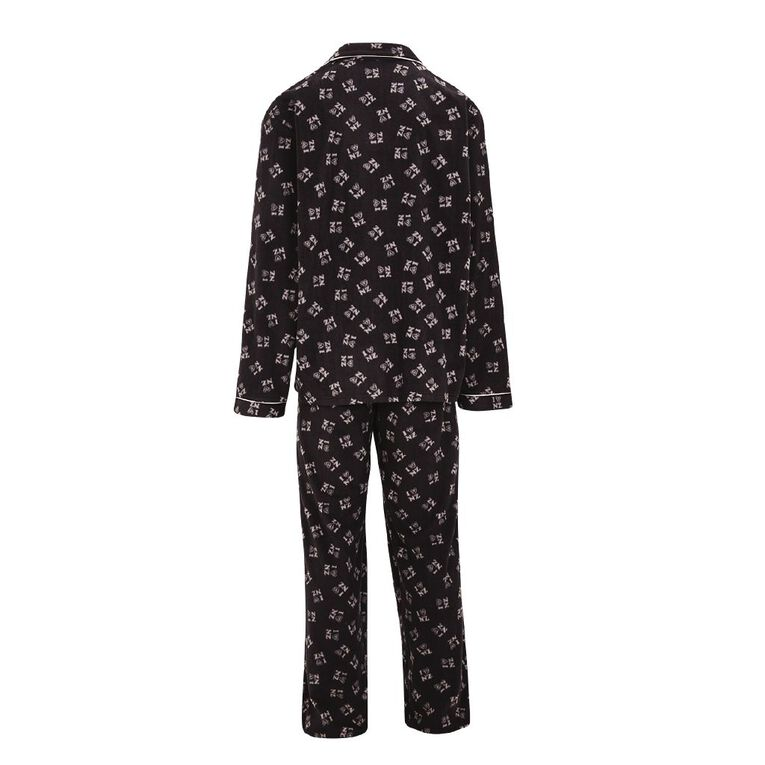 H&H Men's Fleece Pyjama Set, Black, hi-res