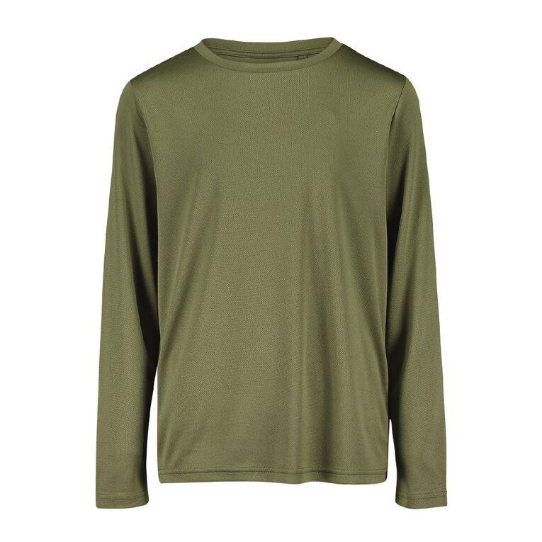 Active Intent Kids' Long Sleeve Plain Tee, Green Dark, hi-res