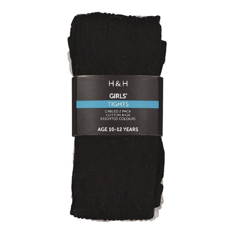 H&H Cable Tights 2 Packs, Black/Grey, hi-res