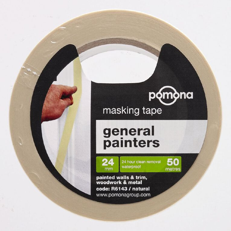 Pomona Masking Tape General Purpose White 24mm x 50m, , hi-res