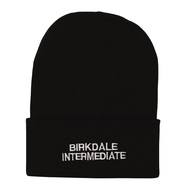 Schooltex Birkdale Intermediate Beanie with Embroidery, Black, hi-res