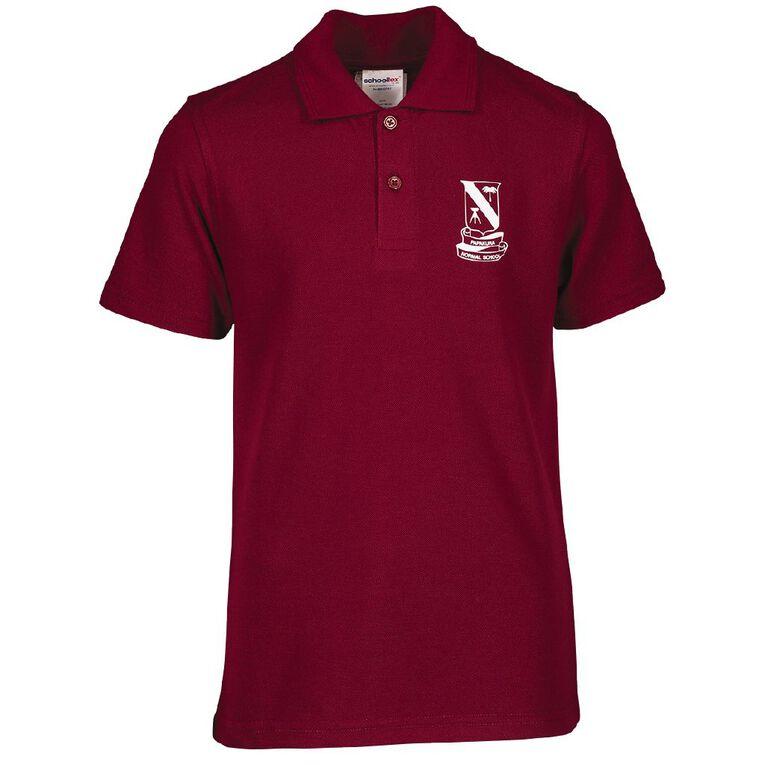 Schooltex Papakura Normal School New Short Sleeve Polo with Transfer, Burgundy, hi-res