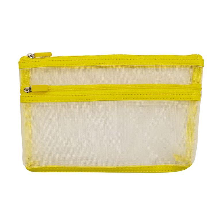 Uniti Geo Pencil Case Two Pocket Yellow, , hi-res