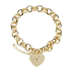 Mestige Swarovski Crystal Gold Plated Heart Throb Bracelet