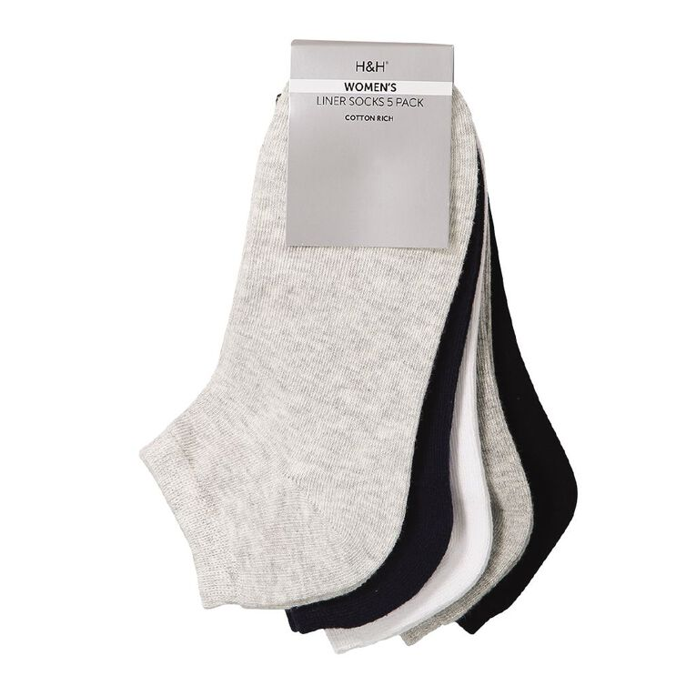 H&H Liner Socks 5 Pack, Black/White, hi-res