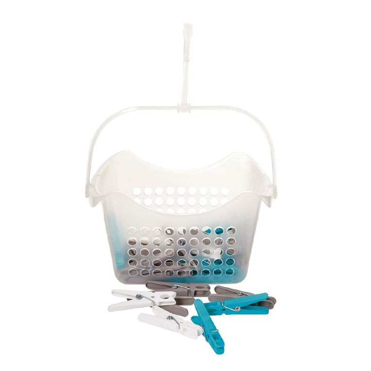 Living & Co Peg Basket with 36 Pegs Multi-Coloured, , hi-res
