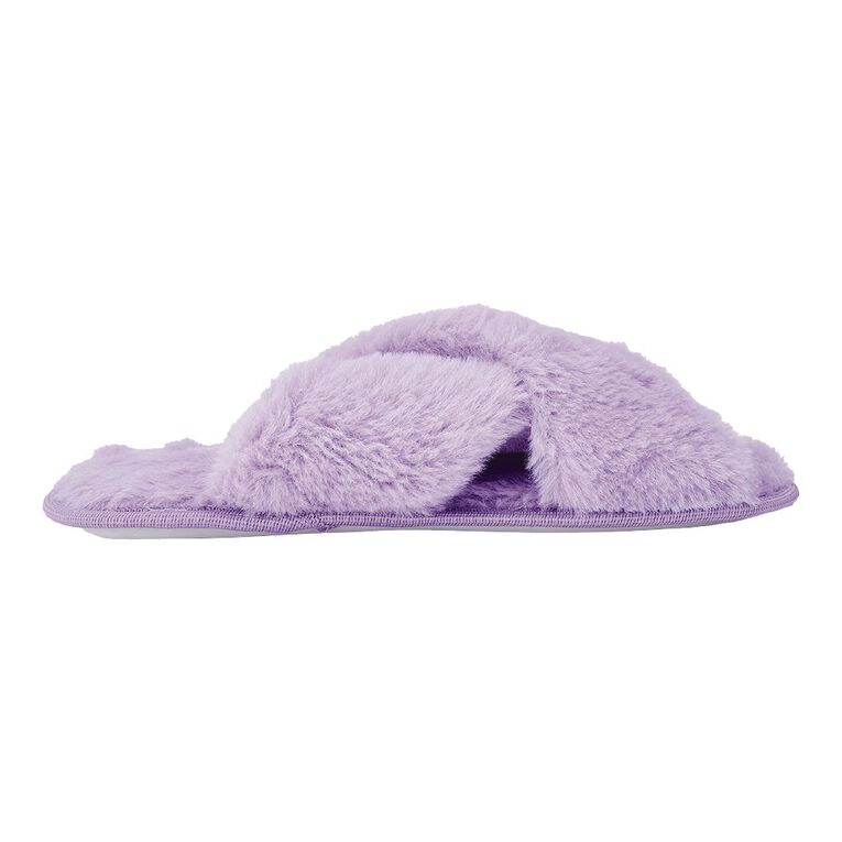 H&H Fluffy Crossover Slippers, Lilac, hi-res