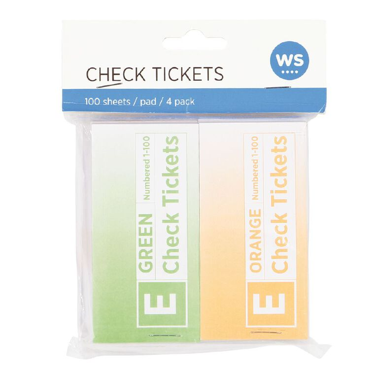 WS Check Tickets 4 Pack 100 sheets Assorted, , hi-res