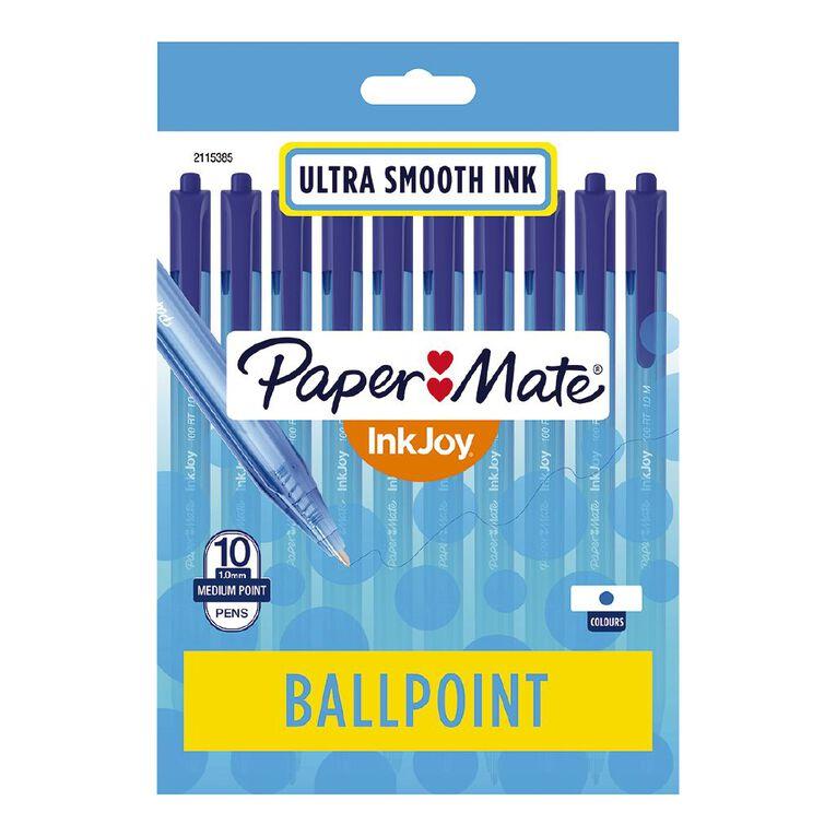 Paper Mate InkJoy 100RT 1.0mm Ballpoint Pen Blue 10 Pack, , hi-res