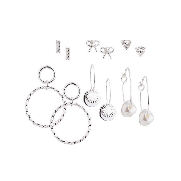 Basics Pearl Bowtie Earring, Silver, hi-res