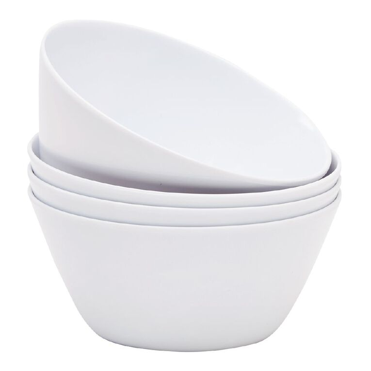 Living & Co Melamine Bowl White 4 Pack, , hi-res