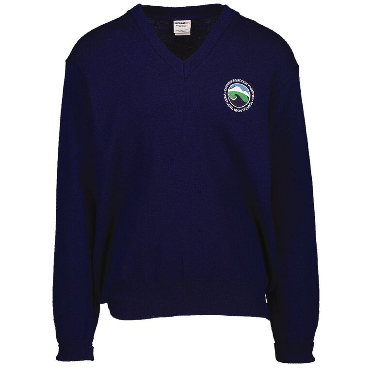 Schooltex Westland High V-Neck Jersey with Embroidery, Dark Royal, hi-res