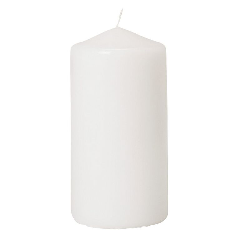 Living & Co Unscented Pillar Candle White 5cm x 7.5cm, White, hi-res