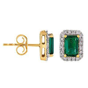 0.20 Carat Diamond 9ct Gold Synthetic Emerald Halo Stud Earrings