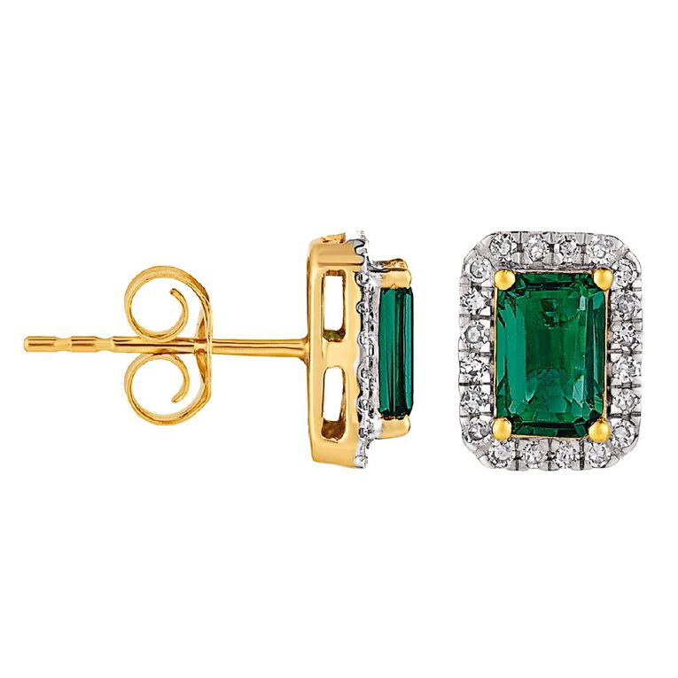 0.20 Carat Diamond 9ct Gold Synthetic Emerald Halo Stud Earrings, , hi-res