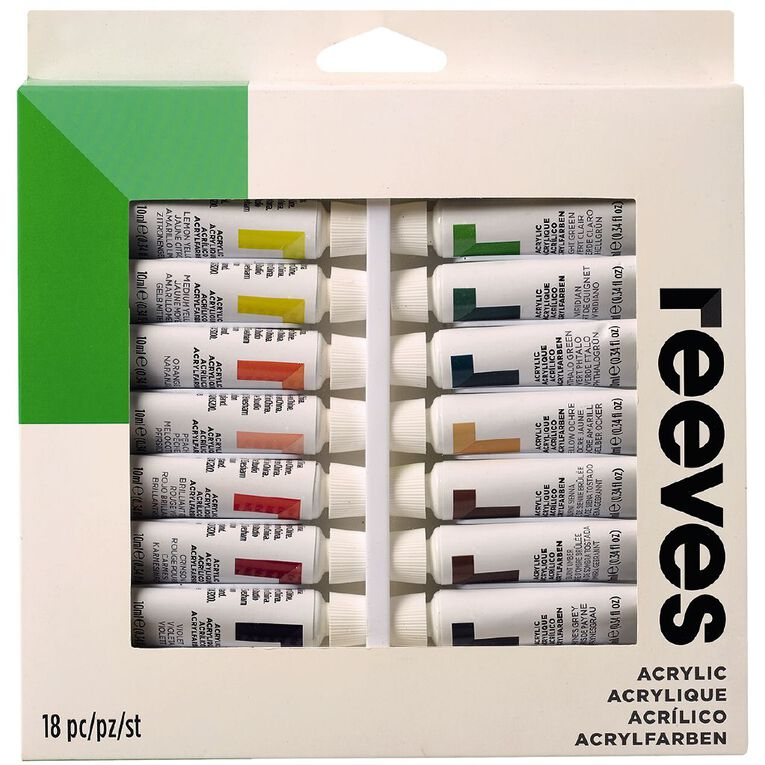 Reeves Acrylic Paint Set Tubes 12ml 18 Pack Multi-Coloured, , hi-res