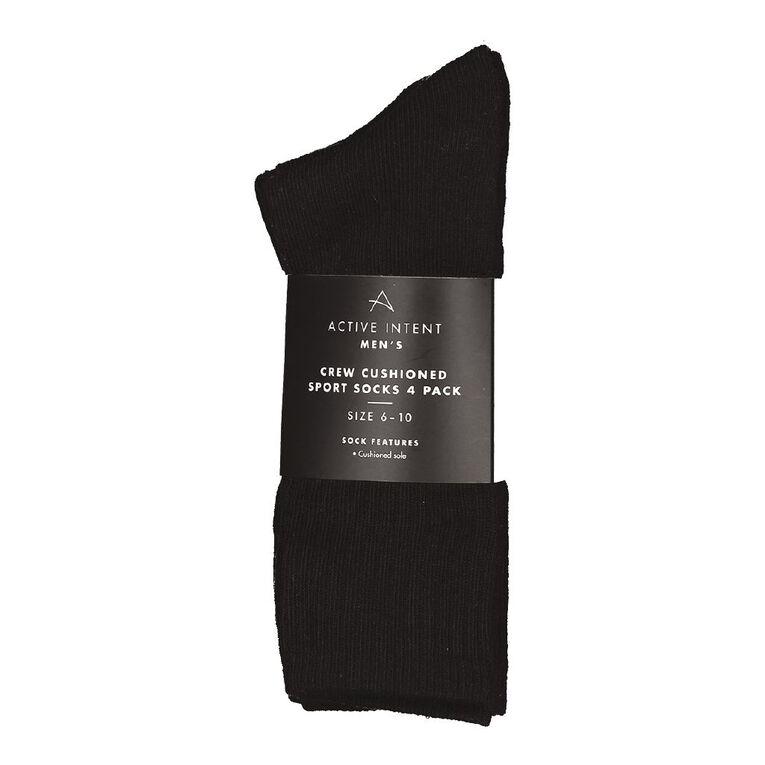 Active Intent Men's Sport Crew Socks 4 Pack, Black, hi-res
