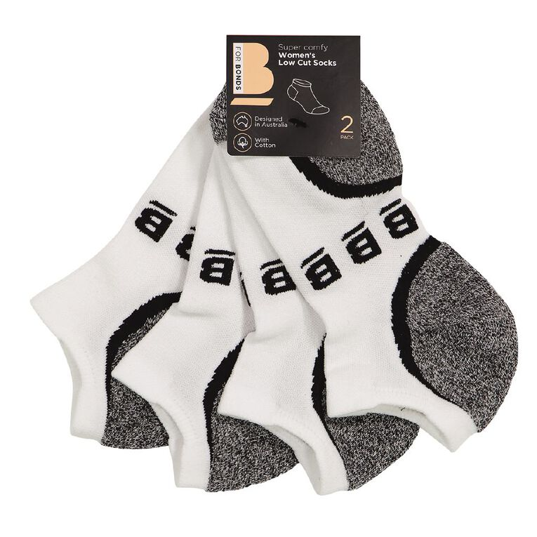 B FOR BONDS Women's Active Low Cut Socks 2 Pack, White, hi-res