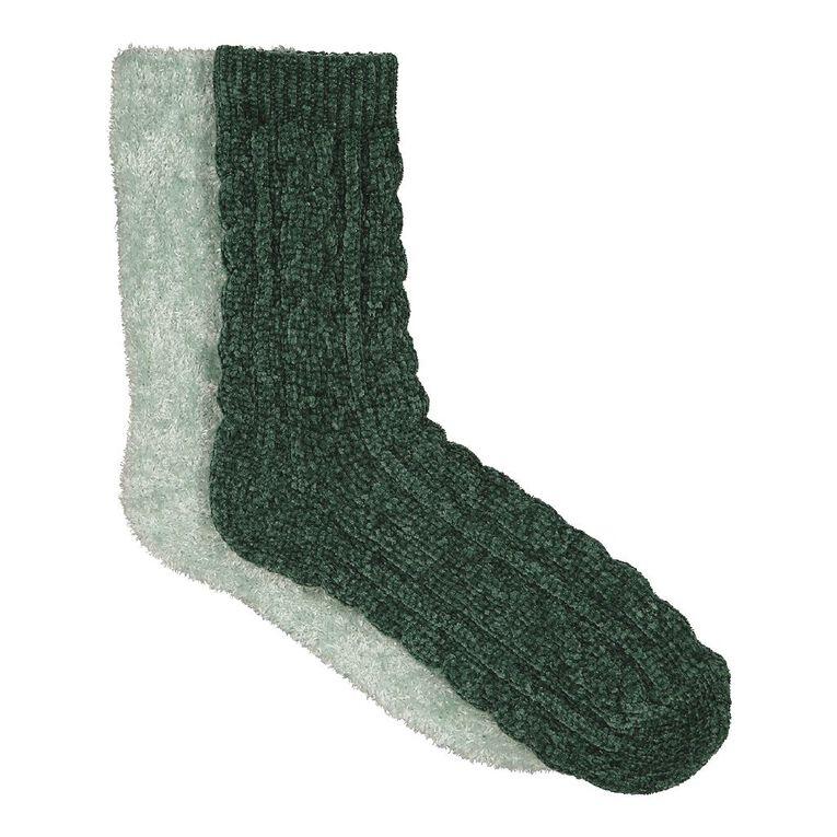 H&H Women's Bed Socks Chenille 2 Pack, Green Dark, hi-res