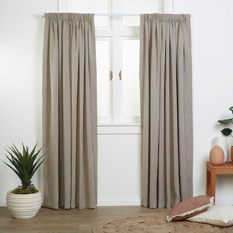 Living & Co Jasper Curtains Sand 230-330cm Wide/160cm Drop, Sand, hi-res