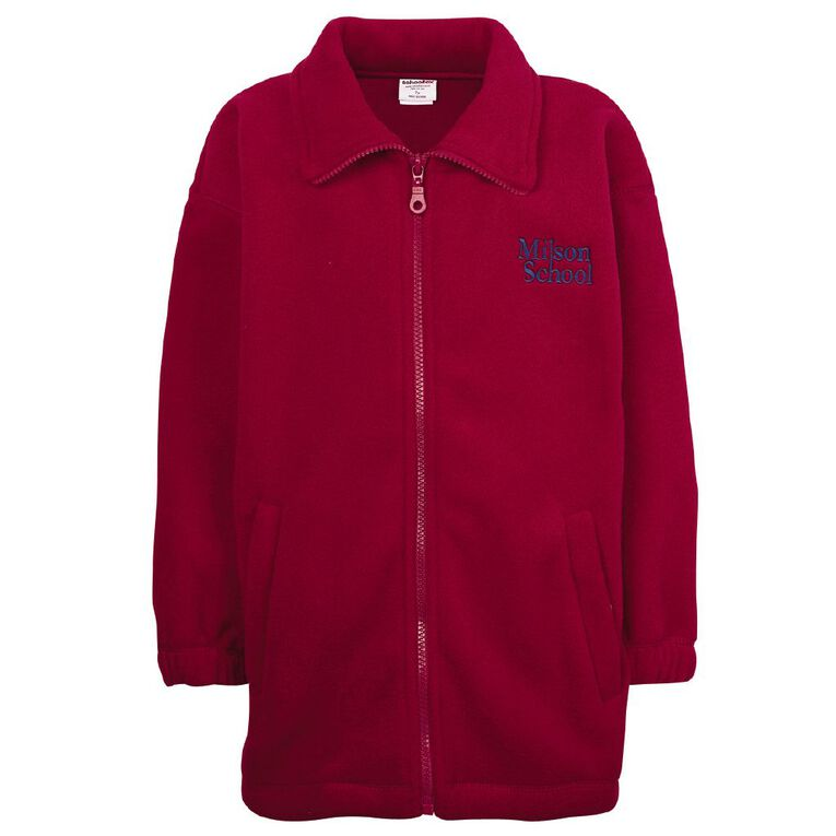 Schooltex Milson Polar Fleece Jacket with Embroidery, Red, hi-res