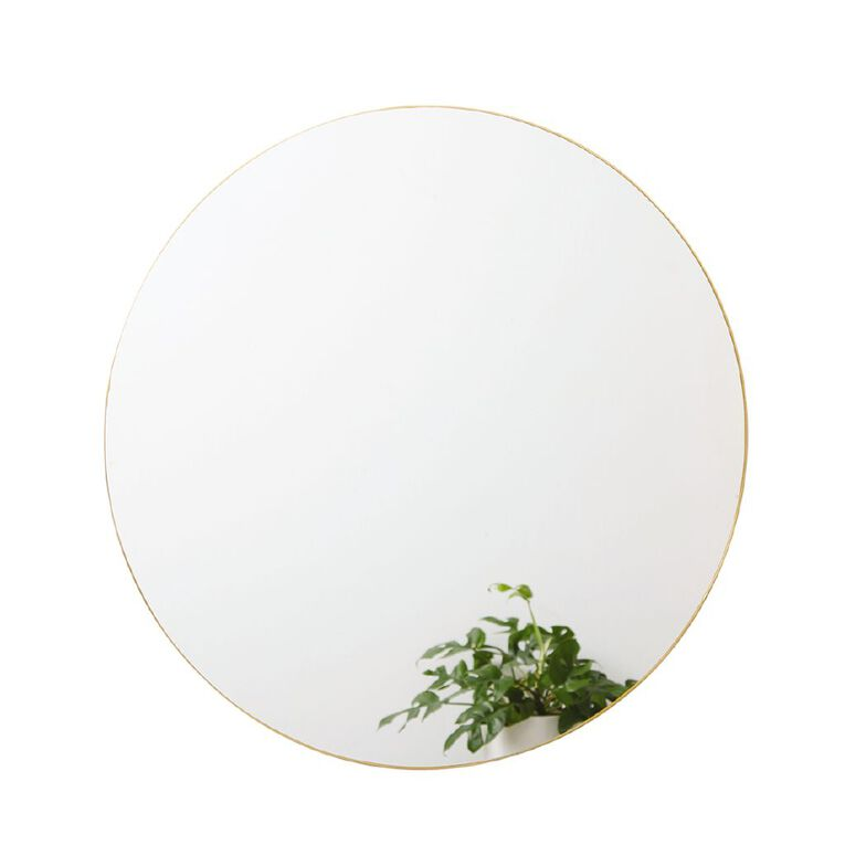 Living & Co Round Wall Mirror Gold 80cm, , hi-res