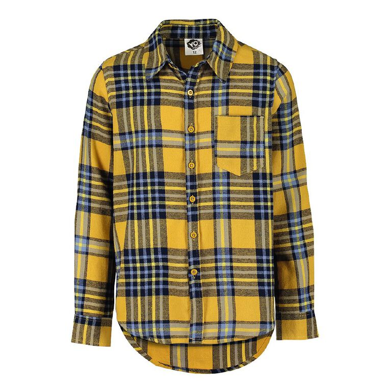 Young Original Check Flannel Shirt, Yellow Dark, hi-res image number null