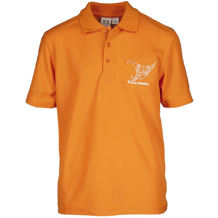 Schooltex Taneatua Short Sleeve Polo with Embroidery, Orange, hi-res