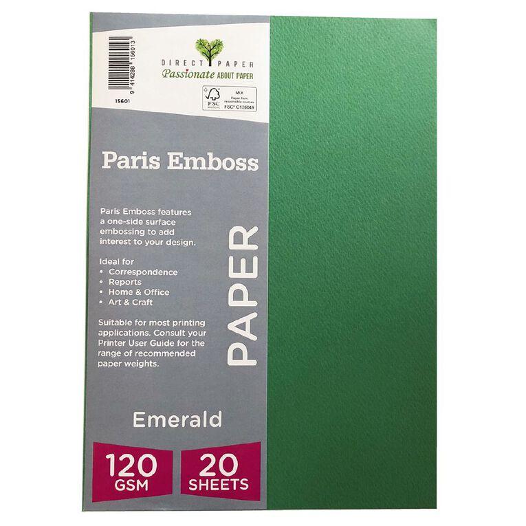 Direct Paper Paris Emboss 120gsm A4 20 Pack Emrald, , hi-res
